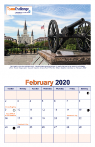 Chad Thiele's Team Challenge Calendar 2020 Feb
