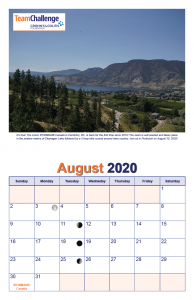 Chad Thiele's Team Challenge Calendar 2020 August